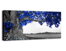 $enCountryForm.capitalKeyWord UK - Large Blue Tree Black and White Canvas Wall Art for Living Room Modern Prints Decor Ready to Hang for Home Bedroom Office Wall Decoration