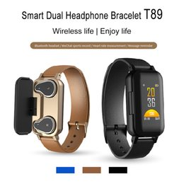 EarphonEs slEEp online shopping - T89 Smart Bracelet TWS Earbuds Bluetooth Earphones Fitness Tracker Heart Rate Wristband Sport Watch for IOS android Smartphones with Box
