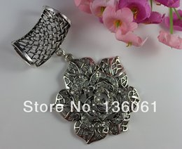 scarf slides wholesale UK - Fashion Vintage Silver Alloy Mosaic Rhinestone Rose Flower Charms DIY Set Jewelry Slide Scarf Accessory Gifts