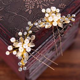 Hair Clips Bridal Australia - New Handmade Gold Color Crystal Simulated Pearl Bridal Hairpins For Wedding Hair Accessories Women Hair Clips Headpiece Hair Jewelry