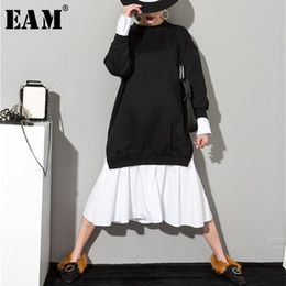 $enCountryForm.capitalKeyWord NZ - [eam] 2019 New Spring Solid Color Round Neck Long Sleeve Black White Split Joint Women Korean Sweatshirts Dress As20941 Y19051001