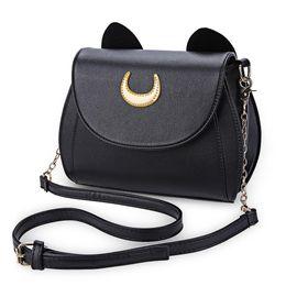 $enCountryForm.capitalKeyWord NZ - Wholesale-Hot Sale Black Sailor Moon Ladies Handbag PU Leather Women Messenger Crossbody Small Bag Women Luna Cat Shape Chain Shoulder Bag