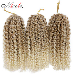 Discount synthetic hair curly kanekalon - Nico Hair Malibob 3packs Kanekalon Synthetic Bulk Hair Extensions 8inch Mali Bob Afro Twist Curly Crochet Braids