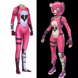Women S Plus Size Halloween Costumes NZ - Pink Bear Costume Cosplay Cuddle Team Leader Jumpsuit Harror Halloween Costumes For Women Plus Size Bodysuit
