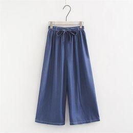e3752bde0a6a Tallas grandes 6XL 7XL Estilo coreano 2019 Pantalones vaqueros flojos del  verano Mujeres Mediados de cintura Pantalones de mezclilla de pierna ancha  Mujer ...