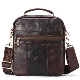 Ipad Genuine Leather Australia - Fashion Man Handbag Vintage Shoulder Bag Cowhide Business Man Bag Zipper Messenger Ipad Holder Genuine Leather Flap Clutch