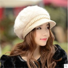 $enCountryForm.capitalKeyWord Australia - Hat female autumn and winter new ladies knit hat beret Korean version plus velvet thickening earmuffs duck tongue fur hat