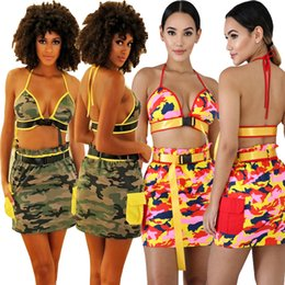camo skirt fashion NZ - Green Red Camo Denim Printed Fashion Two Pieces Set Sexy Halter V Neck Buckles Belted Crop Tops Empire Waistline Mini Skirt Suit HOT