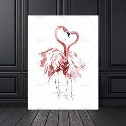 giclee print canvas paintings Australia - Canvas Painting Poster Art Print on Watercolor Flamingo Wall Pictures for Home Decoration Giclee Print Wall Decor no frame