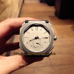 Swiss Quartz Battery Australia - Luxry 41mm Octo Finissimo 102559 Titanium steel Grey Dial Swiss Quartz Movement Mens Watch Gray Leather Rubber Watch High Quality Watches