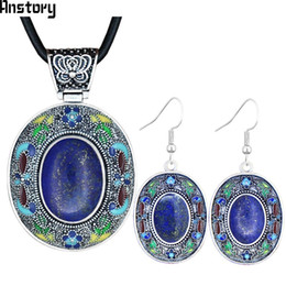 $enCountryForm.capitalKeyWord NZ - Cheap Sets Lapis Lazuli Jewelry Sets Natural Stone Necklace Earrings Hand Painting Craft Flower Plant Bohemia Fashion Jewelry TS450