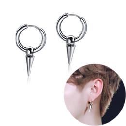 Cone earrings online shopping - Rock Punk Cone Shape Piercing Earrings Ear Cuff Stainless Steel Jewelry Men Chic Ear Stud Eardrop Fashion Accessories Birthday Gift