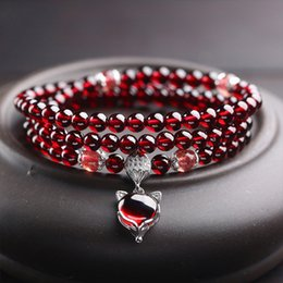 gourd charms NZ - Wine Red Garnet Bracelets For Women Natural Gemstone 925 Sterling Silver Jewelry Fox Gourd Pixiu Snowflake Charm Best Gift Girls J190611