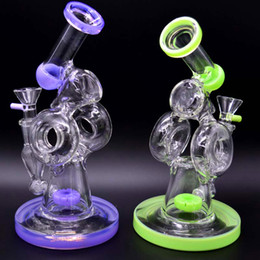 $enCountryForm.capitalKeyWord Canada - Unique Glass Bongs Double Recycler Water Pipes Donuts Chamber Inline Tyre Perc Bubbler Oil Dab Rigs 8 inch Tall Hammered Hookahs Pipes