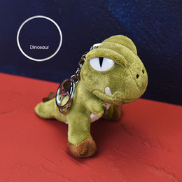 cute dinosaur cartoons NZ - Cartoon 10cm Cute Dinosaur Plush Toys Kawaii Bag Backpack Pendant Keychain Stuffed Animals Kids Toys for Children Birthday Gift Doll