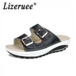 China Lizeruee Brand Summer Slippers Shoes For Women Genuine Leather Platform 4.5cm Heels Outside Slides Ladies Casual Shoes CS566 cheap flat slippers for ladies suppliers