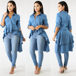 long sleeve ruffle blouses Australia - Blue Denim Casual Shirt Dress Spring Autumn Turn Down Collar Long Sleeve Top Special Front Short Back Long Double Ruffles Blouse