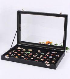 Stud Cases Australia - Jewelry Rings Display Tray Storage Box Show Case Organiser Holder with Lid - Black Velvet 100 Slot Ring Ear Studs Cases