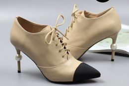 $enCountryForm.capitalKeyWord NZ - free ship! u631 40 41 42 genuine leather cap toe pearl heel short boots vogue luxury designer shoes
