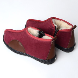 ShoeS elderly online shopping - Unisex winter warm shoes Skin proof warm and leisure low barrel for mid aged and elderly real sheep fur natural wool