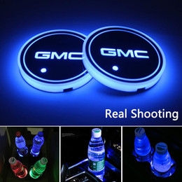 $enCountryForm.capitalKeyWord Australia - 2pcs LED Car Cup Holder Lights for GMC, 7 Colors Changing USB Charging Mat Luminescent Cup Pad, LED Interior Atmosphere Lamp