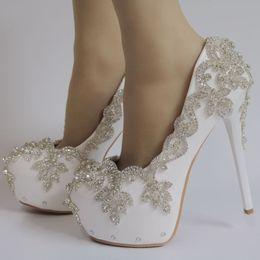 $enCountryForm.capitalKeyWord Australia - Handsome2019 Wedding White Woman Will Code Rhinestone High-heeled Shoes Waterproof Platform One Word Bring Single Shoe