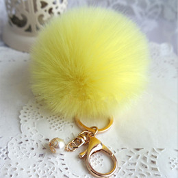$enCountryForm.capitalKeyWord Australia - 8CM 9 Colors Fluffy Fur Ball Key Chain Cute Cream Black Pompom Artificial Fur Keychain Women Car Bag Key Ring