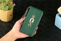 $enCountryForm.capitalKeyWord Australia - Soft Real Leather Wallet Bump for Apple iPhone XS Max XR 8 7 6 Plus with Card Slots Chain Wrist Strap Designer Flip Cover for Women Girls