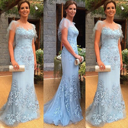 mother bride lace embroidered dresses Australia - Luxury Mother of the Bride Dress Light Sky Blue Sheer Bateau Neck Ruffled Sleeves Embroidered Lace Appliques Mermaid Formal Gowns