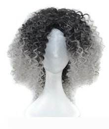 styles for african american hair Australia - Ombre Synthetic Hair Wigs For African American Women Heat Resistant Fiber Curly Mid-length Style Full None Lace Synthetic Wig For Black Lady