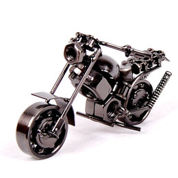 Wholesale 10Styles cm quot Motorcycle Model Retro Motor Figurine Metal Decoration Handmade Iron Motorbike Prop Vintage Home Decor Kid Toy