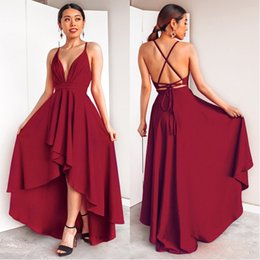 spaghetti strap low back wedding dresses NZ - Burgundy Dress For Wedding Party Elegant A Line Deep V Neck Spaghetti Strap High Low Sexy Bridesmaid Dresses With Cross Back Y19072901