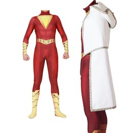 Red Cosplay UK - Popular Movies DC Comics Halloween Gold Thunder Shazan with Cloak and Cloak Cosplay Siamese Tights Cosplay Costume