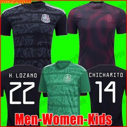 Discount shirt camisa - Mexico soccer jersey Gold Cup 2019 Camisetas 19 20 MEN WOMEN KIDS 2018 CHICHARITO LOZANO DOS SANTOS girl football shirt