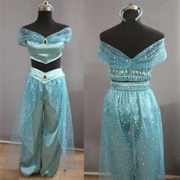 cosplay costume aladdin NZ - Aladdin Jasmine Princess Adult Kids Belly Dancer Cosplay Costume Halloween Aladdin Princess Jasmine Adult Kid Suit Cosplay Dress