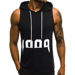 mens sleeveless tank tops Australia - Mens Casual Sleeveless Comfortable Vest Sport Hooded Vest Shirt Man Bodybuilding Stringers Tank Tops Workout Singlet Top