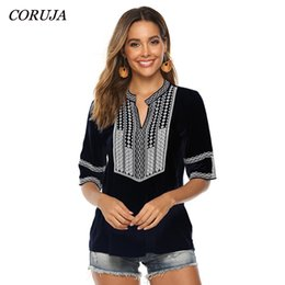 $enCountryForm.capitalKeyWord Australia - New Embroidery Blouses Shirt Women Casual Arabian Style Loose Fit Black Color Block V-Neck Blouse Online Boutiques Clothes
