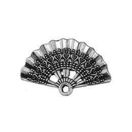 Silver Tone Floating Charm Australia - Fishhook 20pcs Custom Antique Silver Color Tone Hand Fan Floating Pendants And Charms With Metal Material