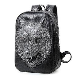 1f031ad3bfd9c 3D Druck Wolf Frauen Rucksäcke Männer PU Leder Rucksack Schultaschen Für  Jugendliche Rucksack Marken Designer Große Kapazität Taschen   252272