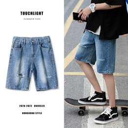 summer wash coat 2020 - Summer Denim Shorts Men's Fashion Solid Color Washed Casual Ripped Short Jeans Men Streetwear Wild Loose Straight D