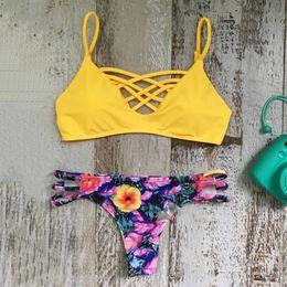 $enCountryForm.capitalKeyWord Australia - Summer Beach Quick Dry Female Swimming Suit Sexy Spaghetti Strap Printed Bikini Set Women Padded Wire Free Push Up Swimsuit DS0484-1 T03