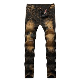 distressed denim for men Canada - 2019 New Style Men Casual Vintage Ripped Jeans Hip Hop Distressed Punk Retro Denim Trousers For Male Patchwork Gold Pants