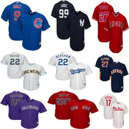 Phillies Rhys Hoskins Mike Trout Christian Yelich Jérsei Yankees Jersey Javier Baez Clayton Kershaw Mookie Betts Camisas de Beisebol on Sale