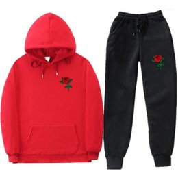 Wholesale roses are red resale online - Hoodies Pants Suits People Are Poison Rose Mens Tracksuits Spring Autumn Sports Red Rose Printed
