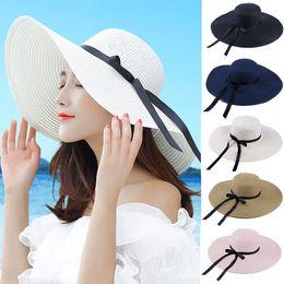Sun Blocks Australia - summer straw hat women big wide brim beach hats sun hat foldable sun block UV protection hat