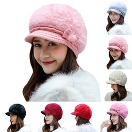c530795240fdc Female Fashion Beret New Elegant women s hat Knitted winter hat for the  girl Solid Cap Bow Autumn Ladies Rabbit hair HX0129