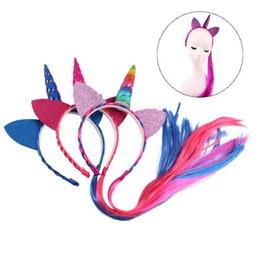 $enCountryForm.capitalKeyWord UK - Hair Sticks Headbands Glitter Rainbow Color Ponytail Unicorn Ears Kids Girls Princess Braid Wig Hair Bands Party Hair Accessories