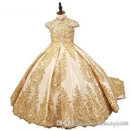 $enCountryForm.capitalKeyWord UK - 2019 Lovely High Quality Tulle Ball Gown Flower Girls Dresses Lace Jewel Kids Long Formal Wedding Party Gowns
