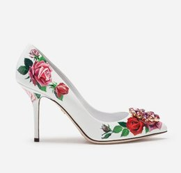 Crystal Diamond Fabrics Australia - New Spring casual women shoes Flower Print Slip on Bridal Pumps Diamond Embellished Toe Thin High Heels Crystal Party Dress Shoes 1022222