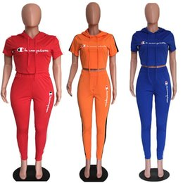 $enCountryForm.capitalKeyWord Australia - Women Champions Tracksuit Letter Print Short Sleeve T-shirt Crop Top + Pants 2 Piece Set Summer Fashion Sportswear Outfits Sports Suit